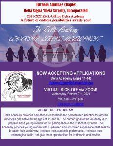 Durham Alumnae Chapter Delta Sigma Theta Sorority, Incorporated presents Delta Academy 2021-2022